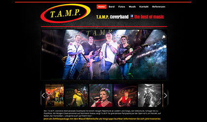 Webdesign Website Wix.com für TAMP-Band