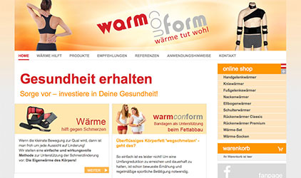 Webdesign Online-Shop warmconform